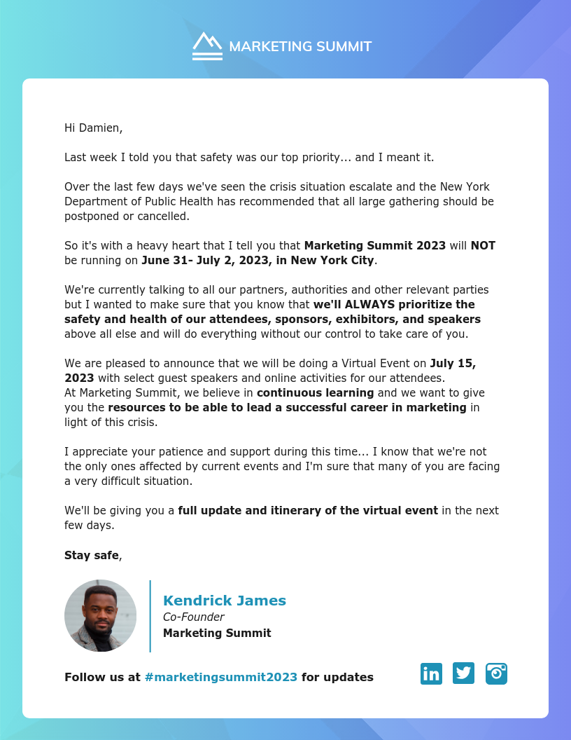 Marketing Virtual Event Email Newsletter Template