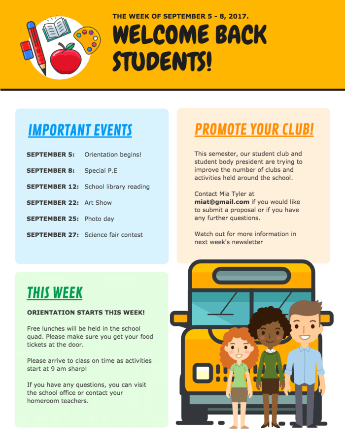 Welcome Back to School Newsletter Template