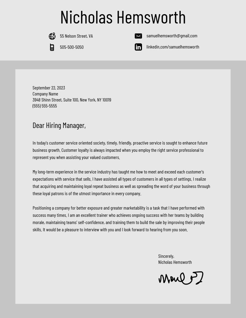 Gray Cover Letter Template