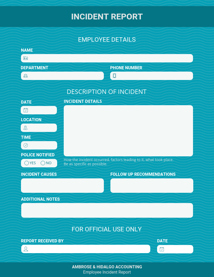Teal Incident Report Template