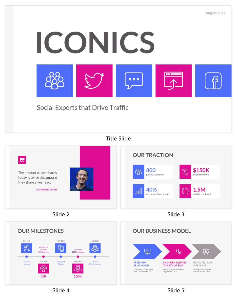 Blue Pink Iconics Pitch Deck Template