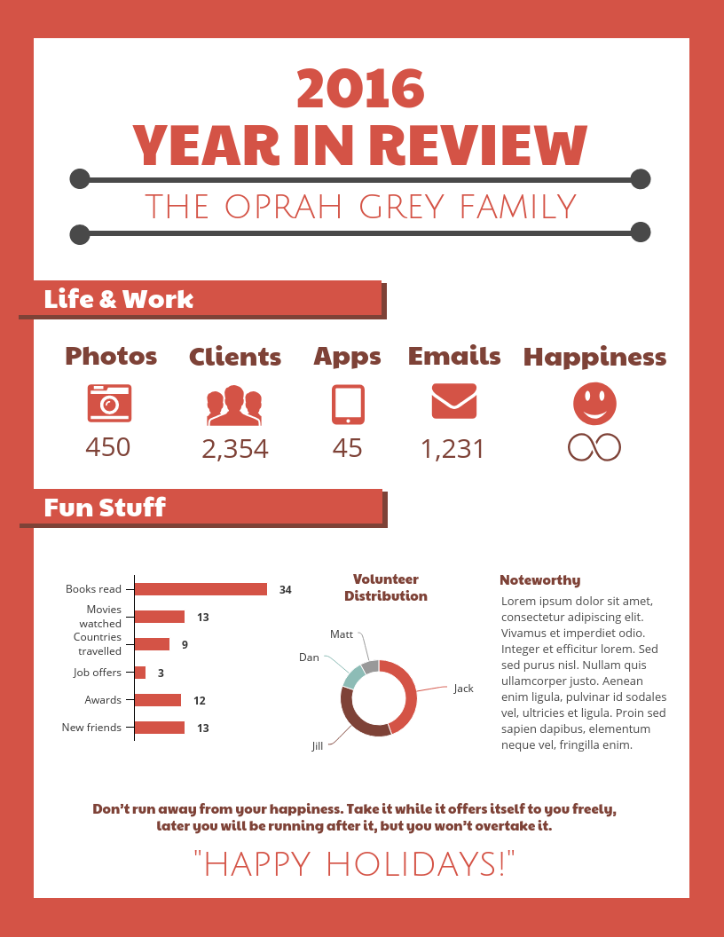 Premise Indicator Words: Year In Review Infographic Template Template
