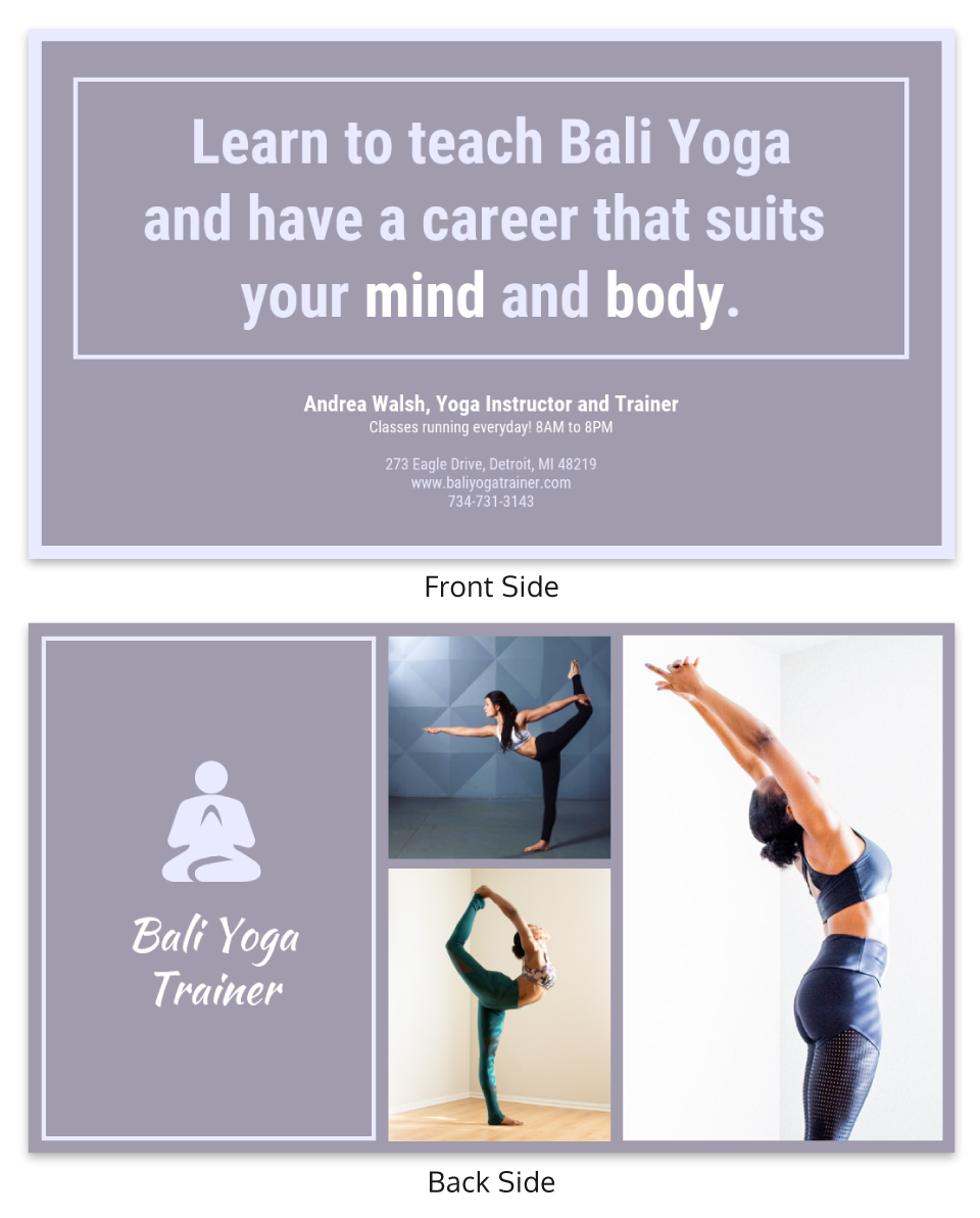 Yoga Instructor Trainer Business Card Template