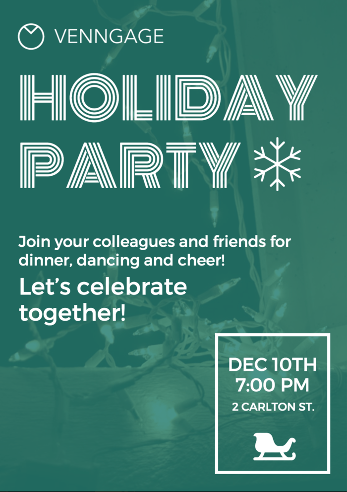 Simple Holiday Party Poster Template Venngage