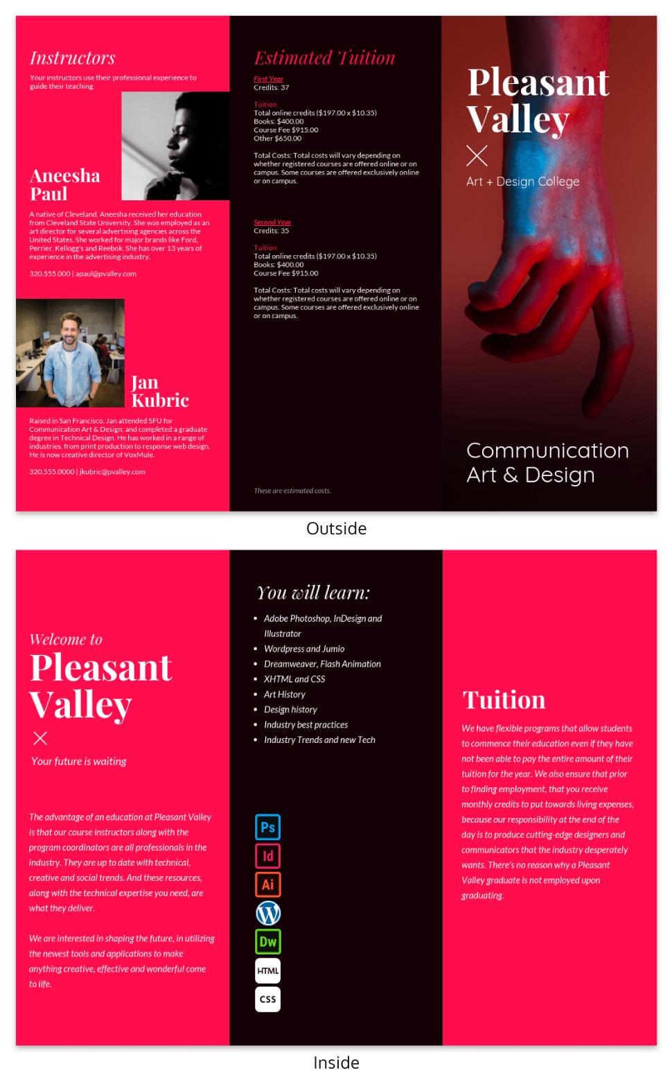 College Tri Fold Brochure Template Venngage