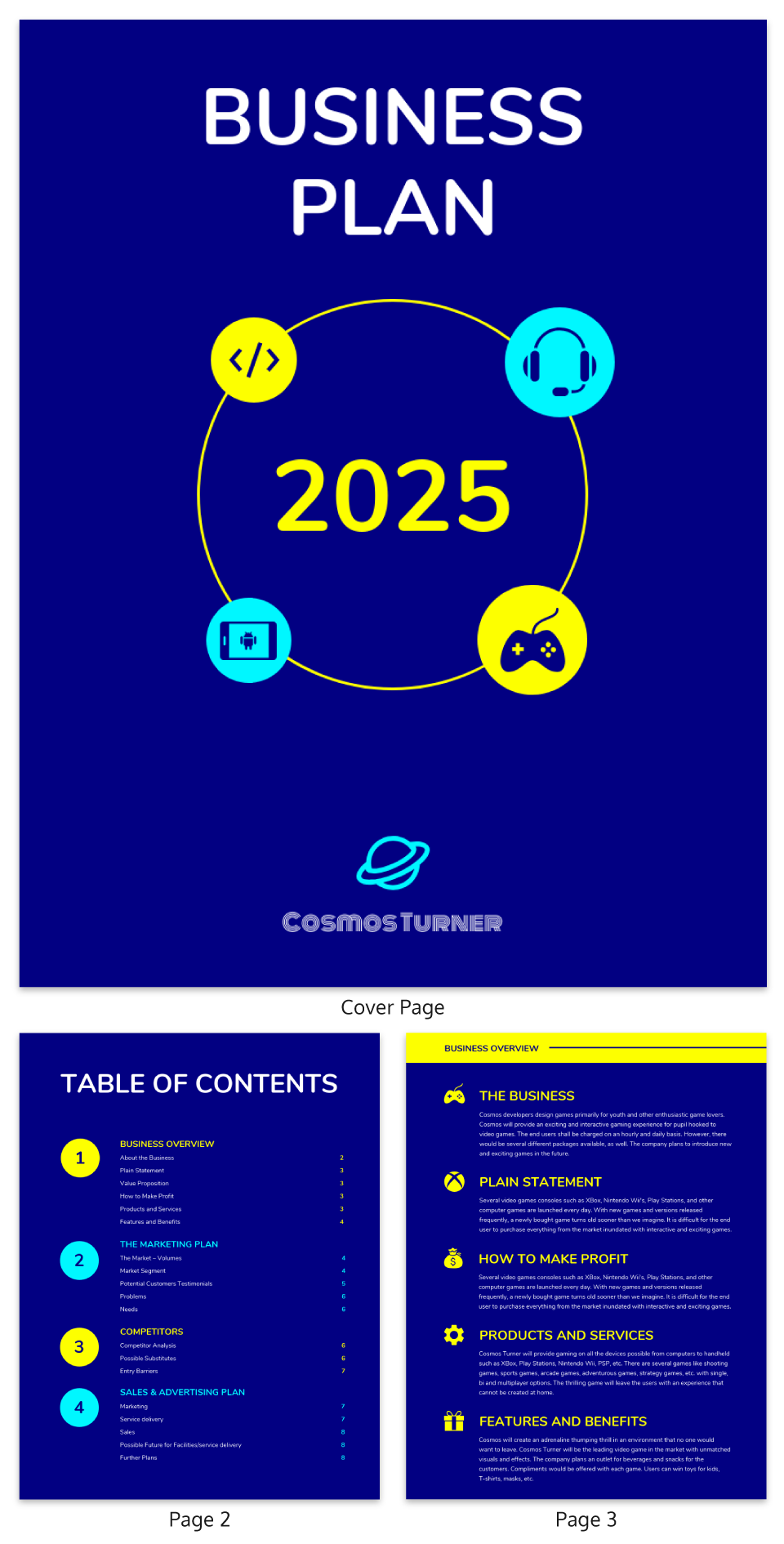 Blue Gaming Business Plan Template