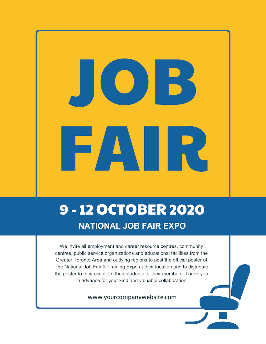 Yellow Minimalist Job Fair Flyer Template
