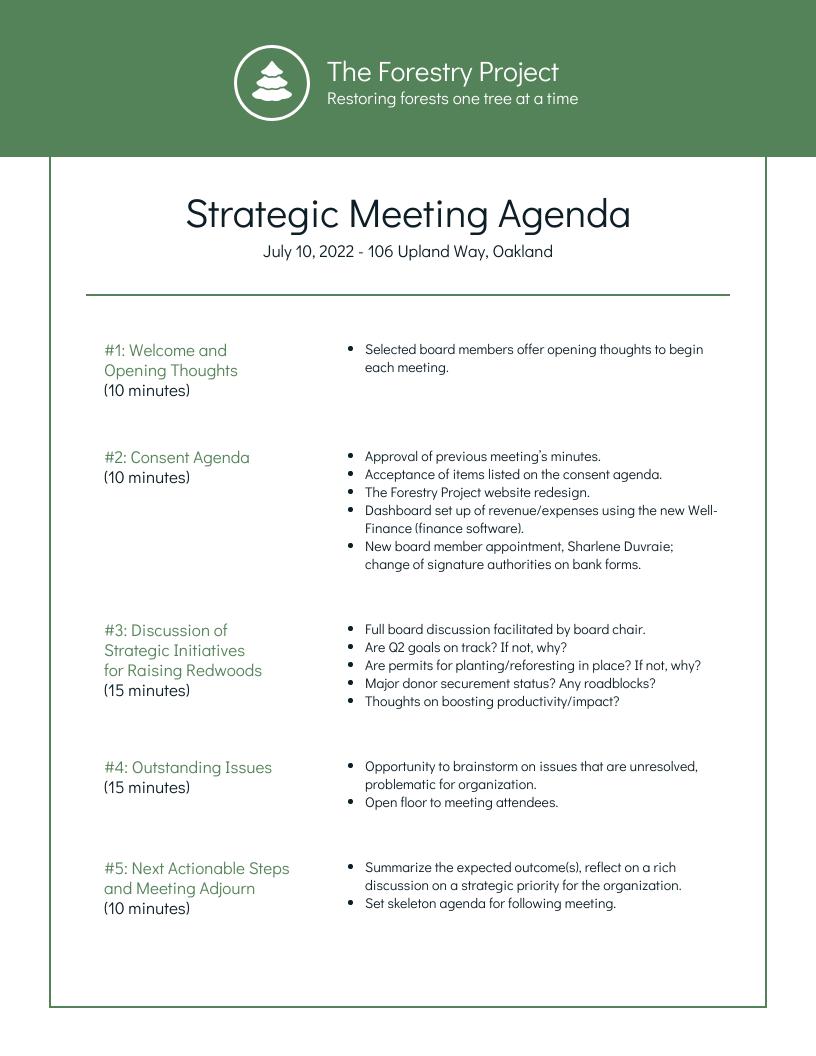 Nonprofit Environmental Board Meeting Agenda Template