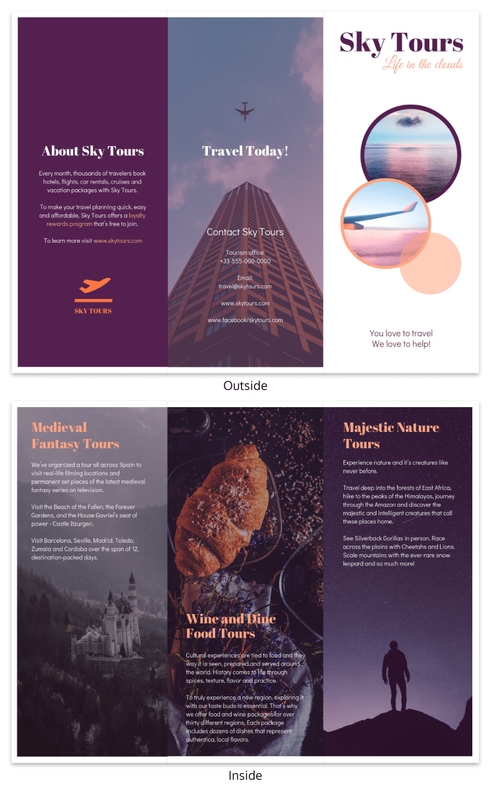 Simple Vacation Travel Tri Fold Brochure Template