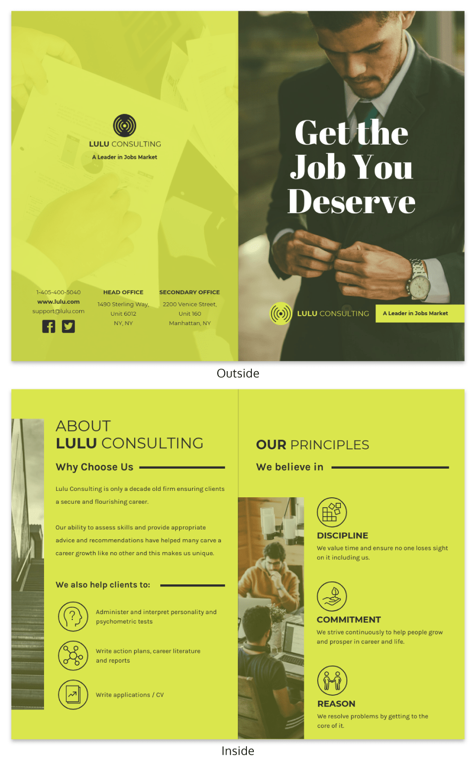 Bright Marketing Consultant Bi Fold Brochure Template