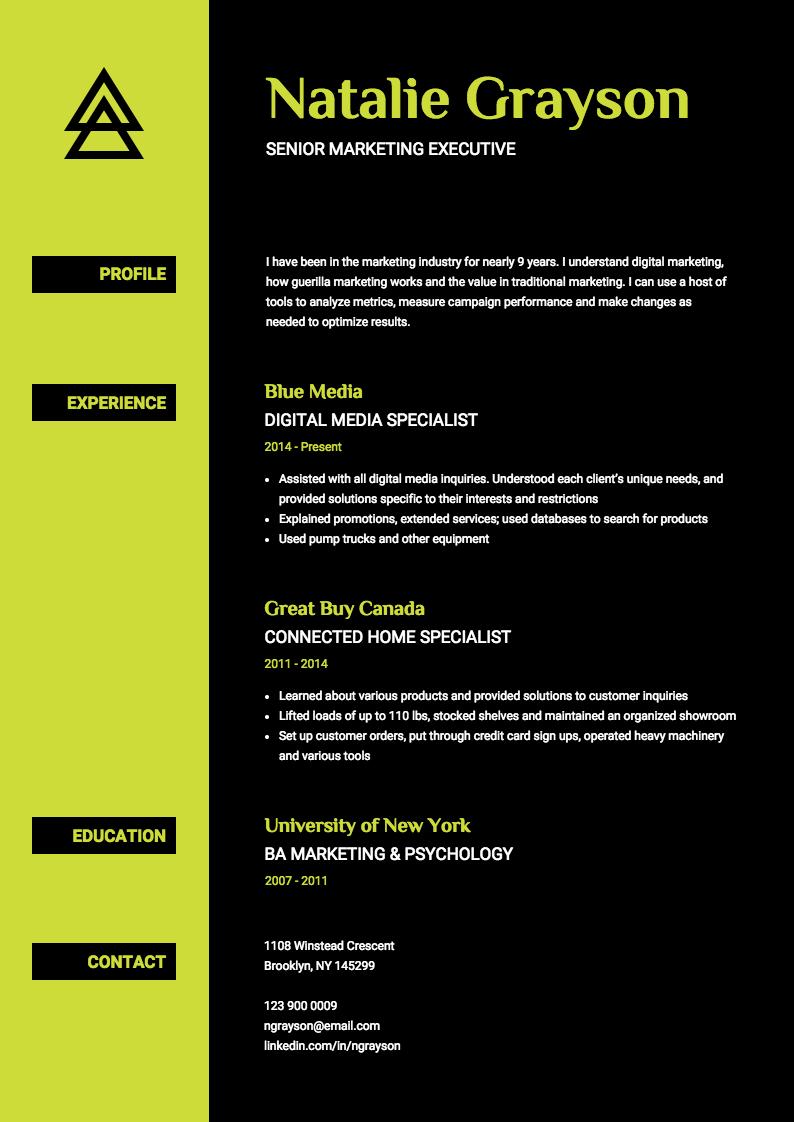 Neon Resume Template