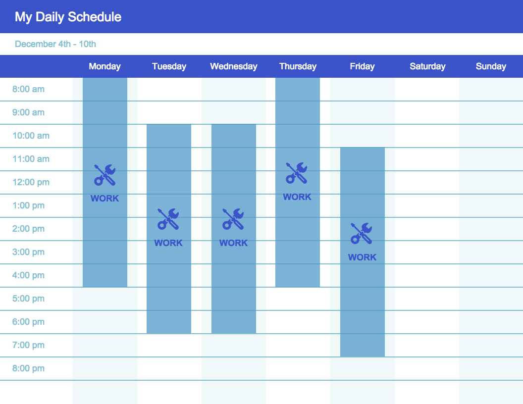 Weekly Schedule Timeline Template