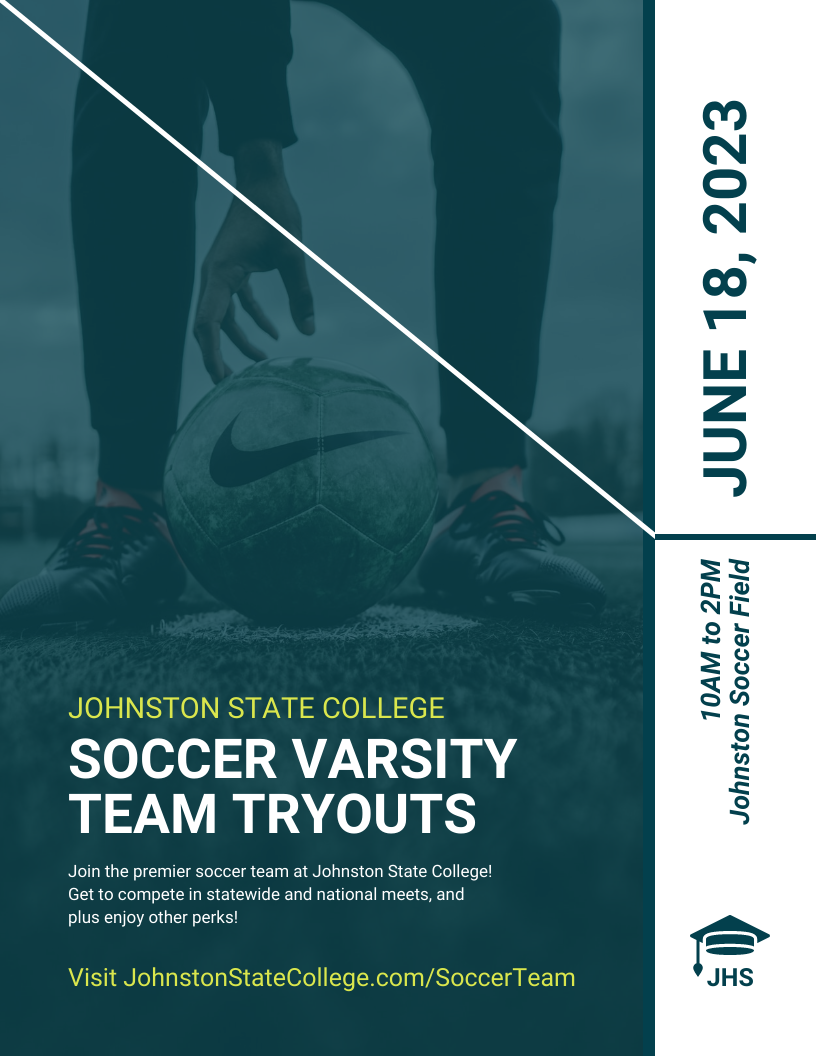 College Soccer Sports Recruitment Event Flyer Template