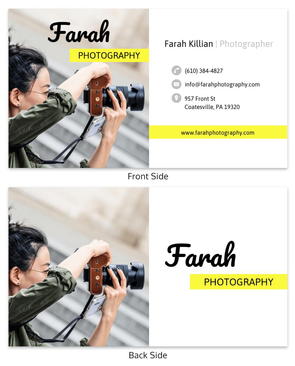 Lemon Yellow Photography Business Card Template