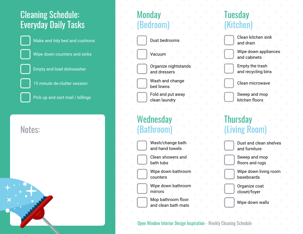 Simple Cleaning Schedule Weekly Checklist Template