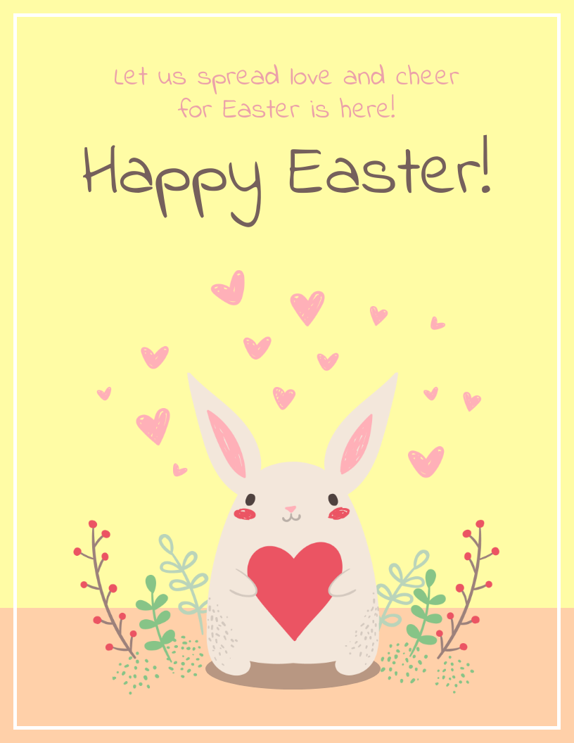 Yellow Easter Bunny Card Template