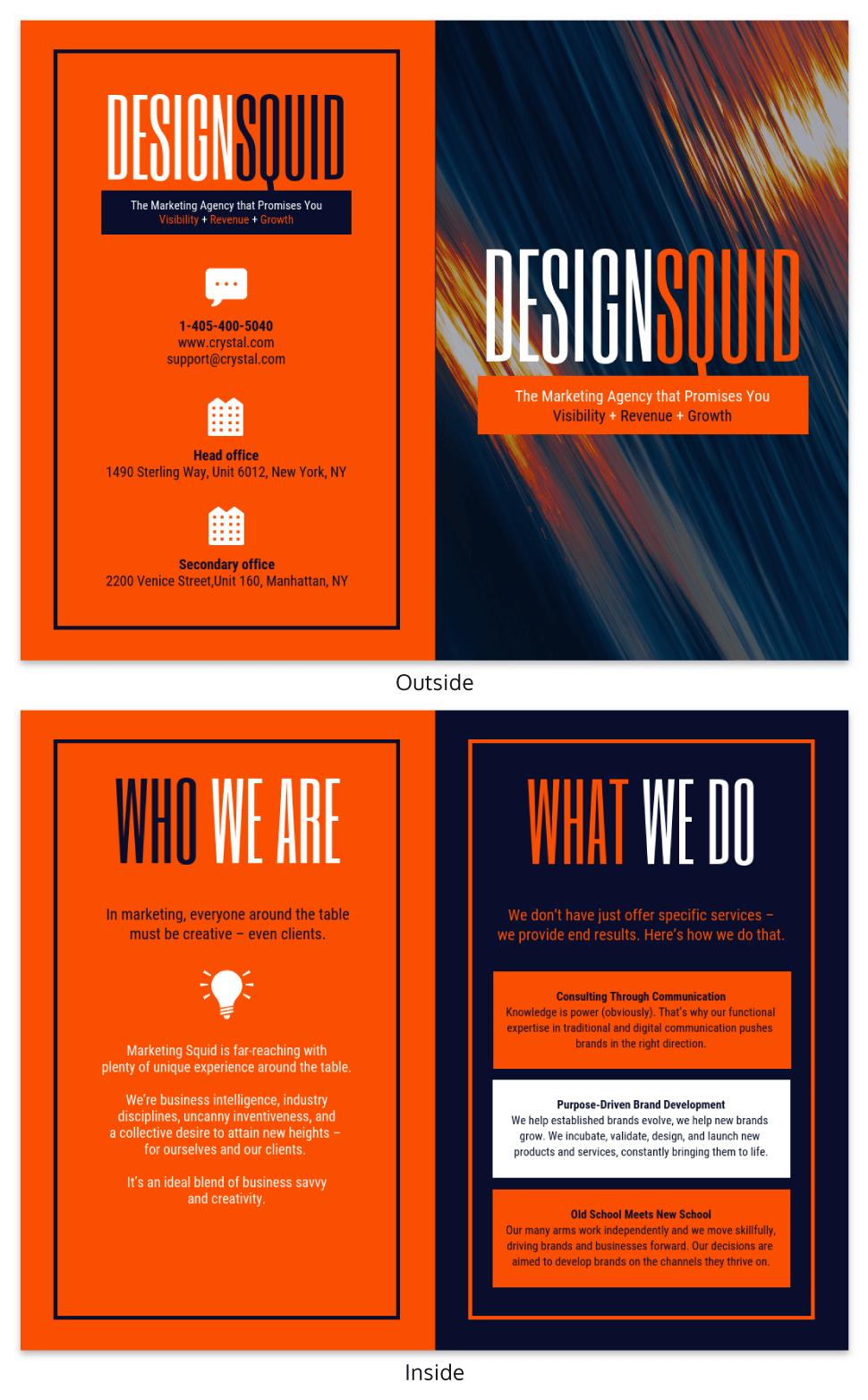 Bold Marketing Consultant Bi Fold Brochure Template