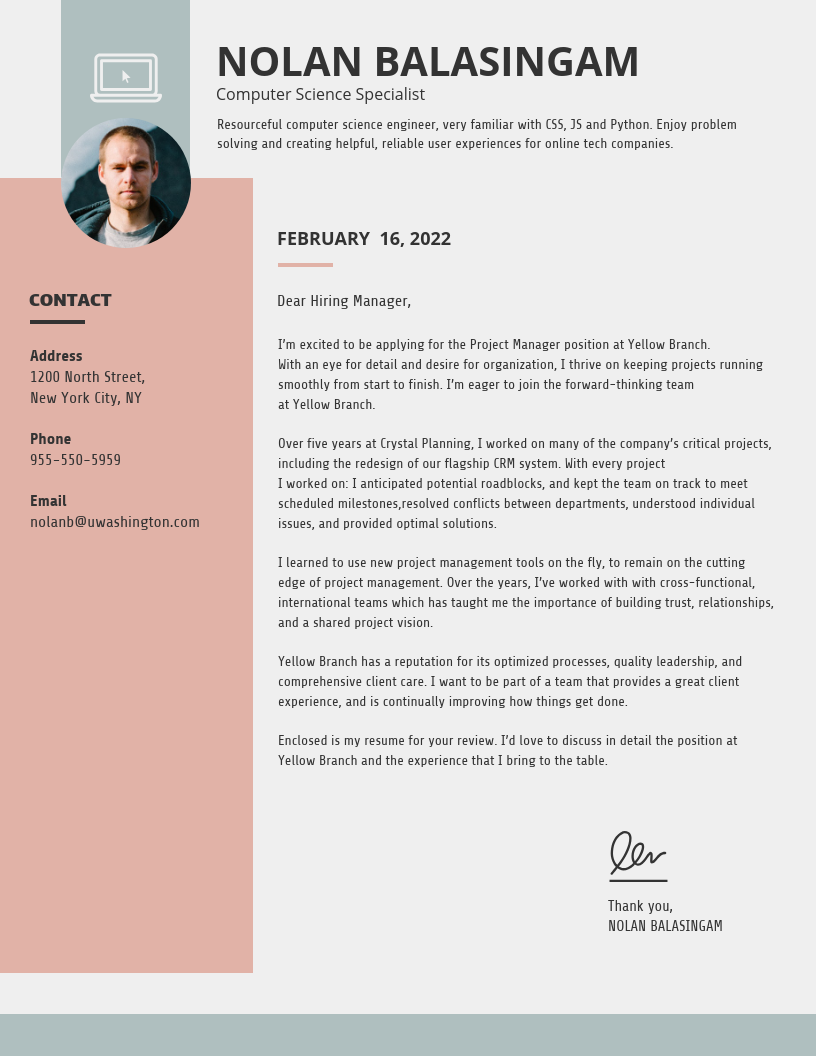 Simple College Student Cover Letter Template