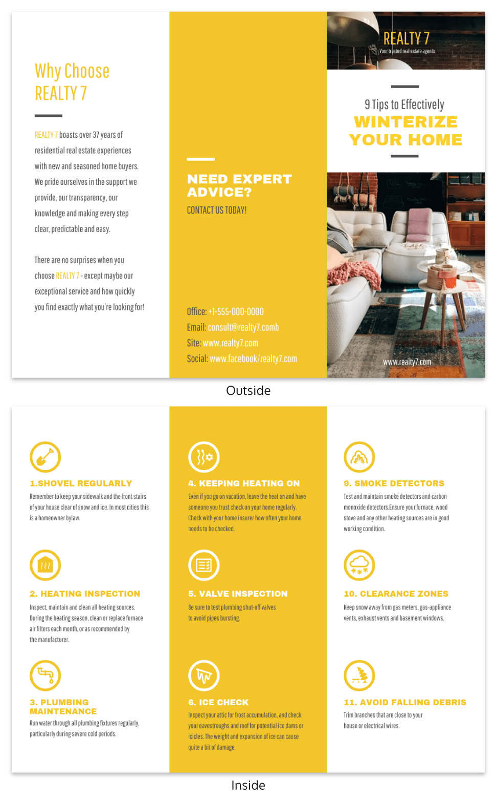 Yellow Real Estate Informational Tri Fold Brochure Template