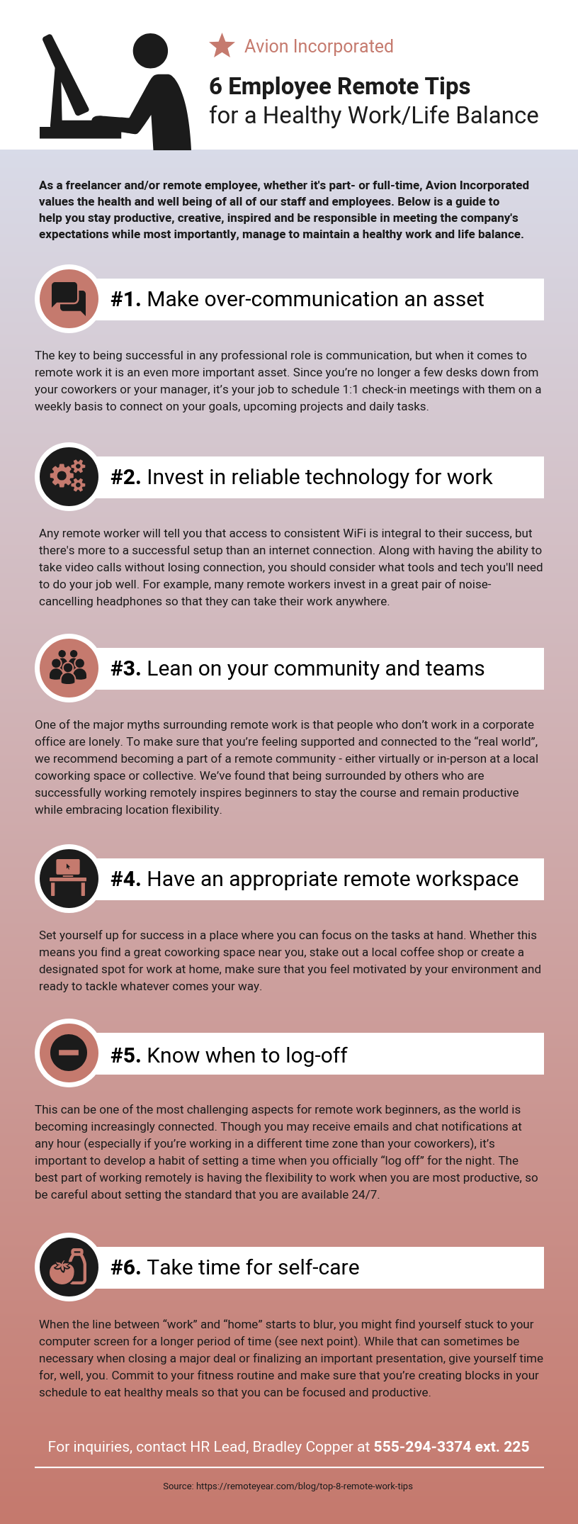 6 Employee Remote Tips List Infographic Template