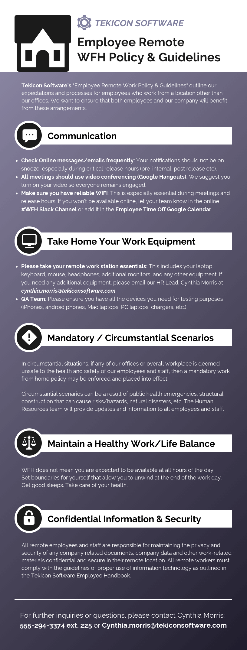 Employee Remote WFH Infographic Template