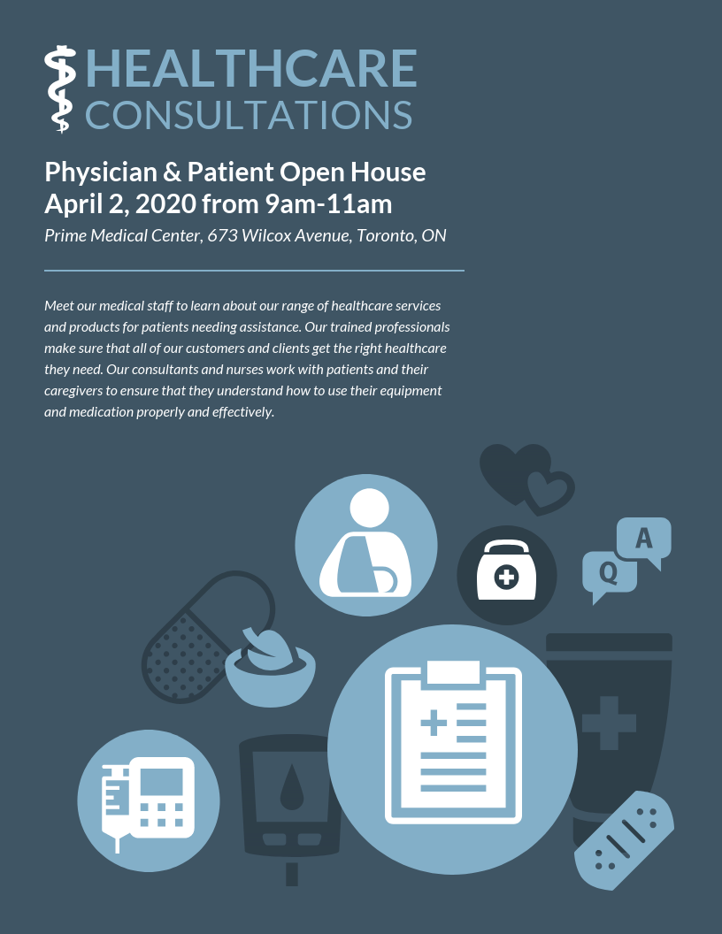 Healthcare Patient Open House Event Poster Template