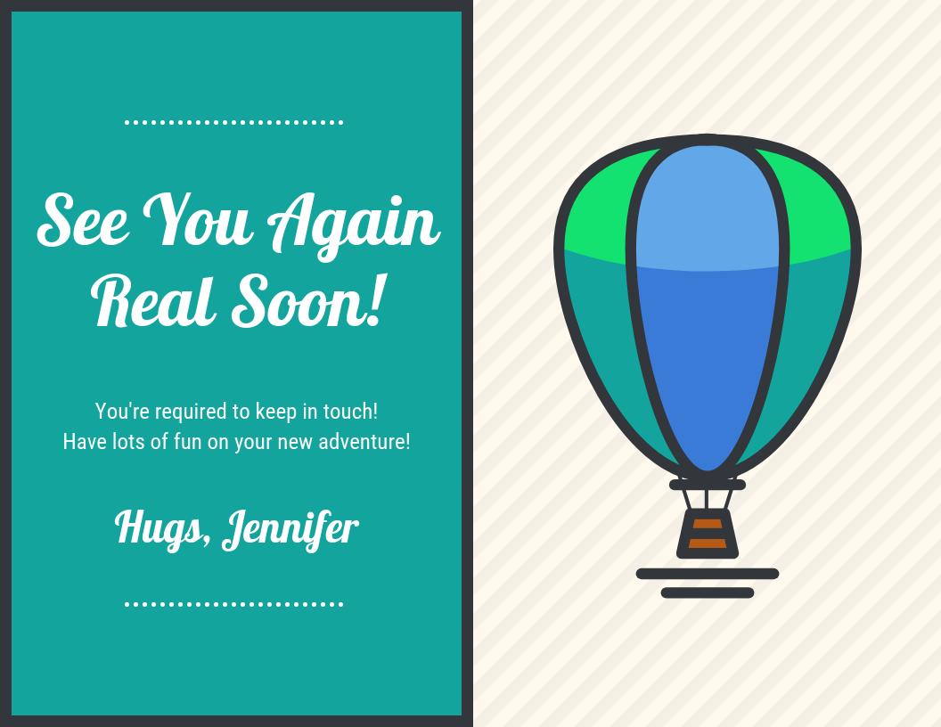 Hot Air Balloon Farewell Card Template