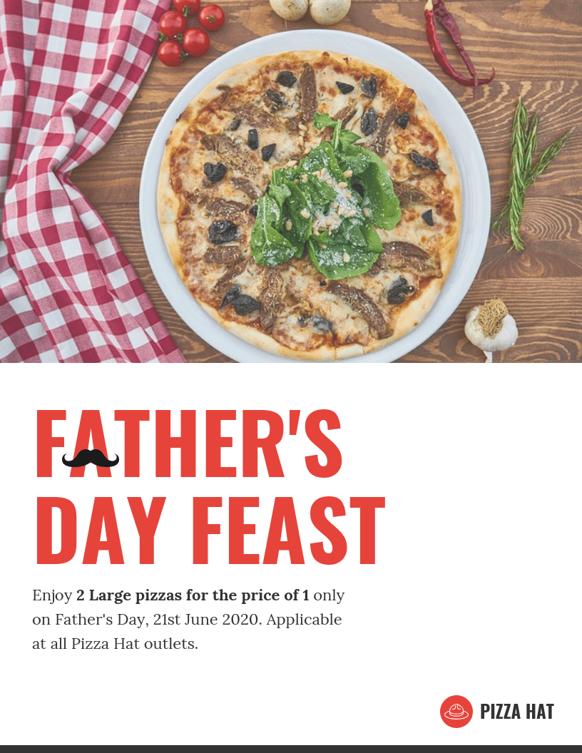 Light Father's Day Pizza Flyer Template