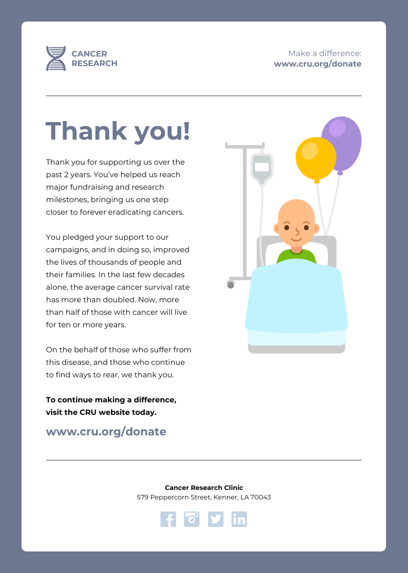 Nonprofit Cancer Research Email Newsletter Template
