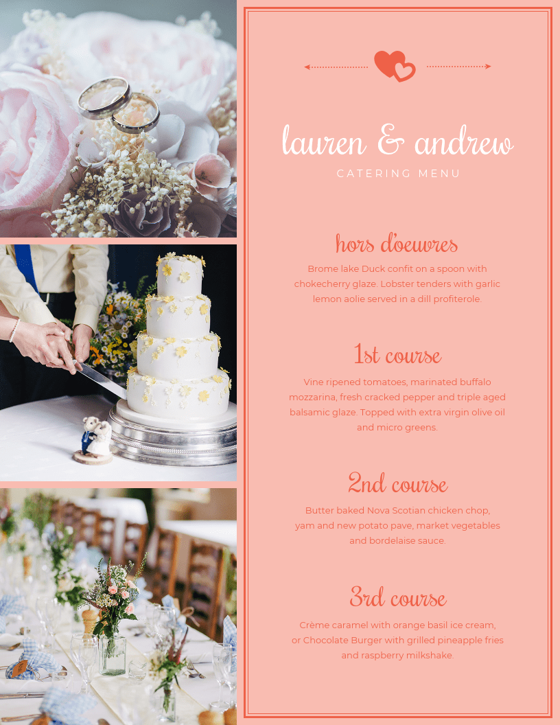 Catering Menu Template | Photo Collage Wedding Catering Menu Template Template Venngage