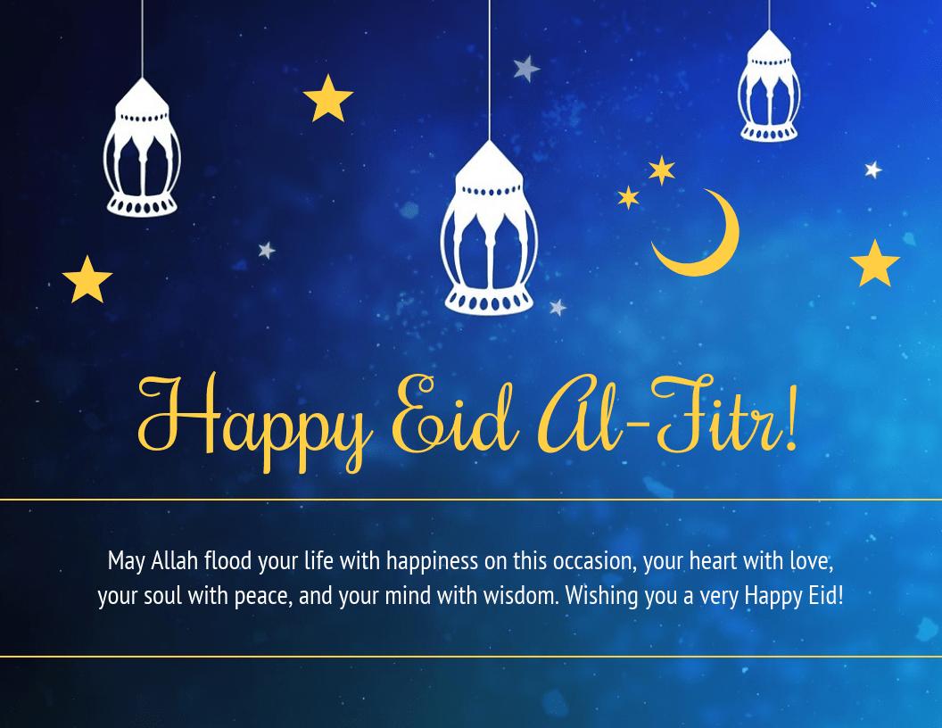 Blue Happy Eid Al-Fitr Holiday Card Template