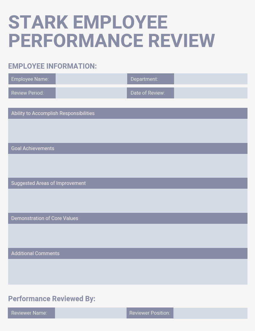 Light Employee Performance Review Template
