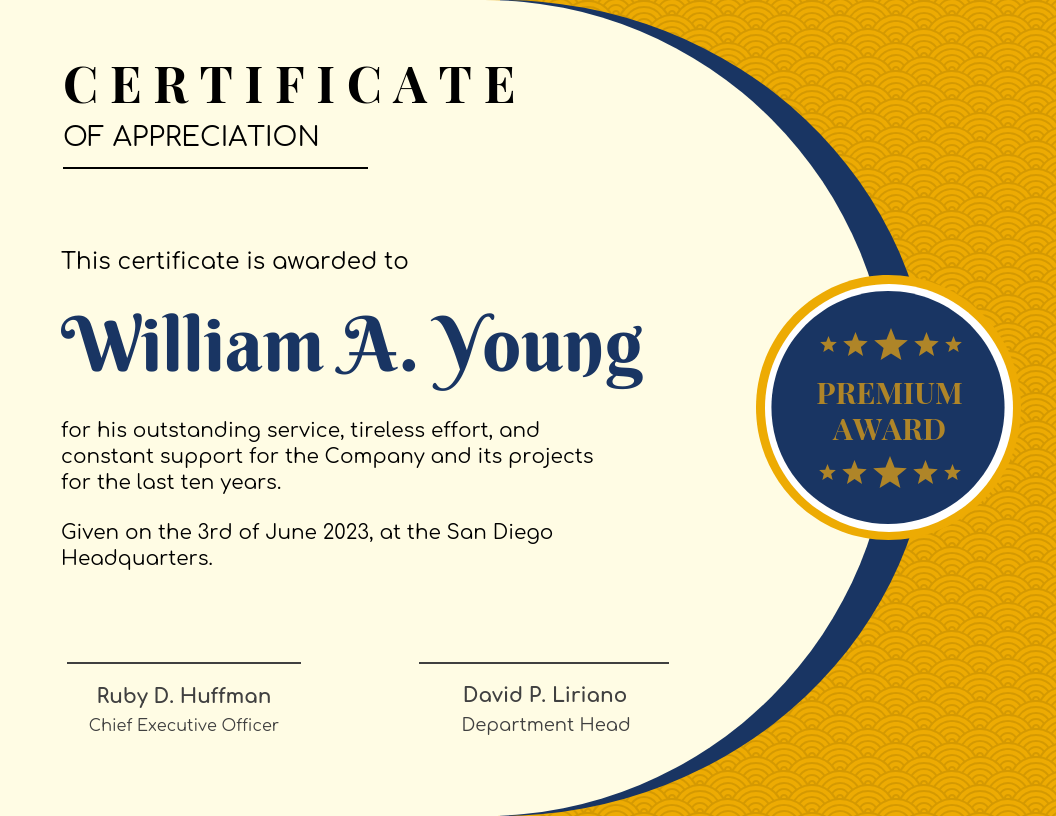 Blue And Yellow Certificate Of Recognition Template
