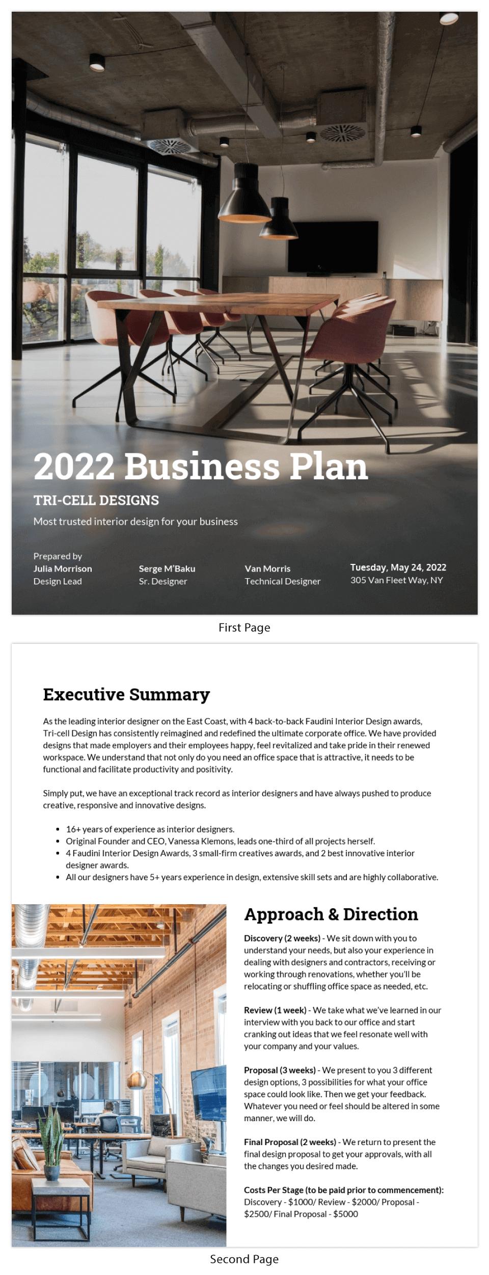 Simple Interior Design Business Plan Template