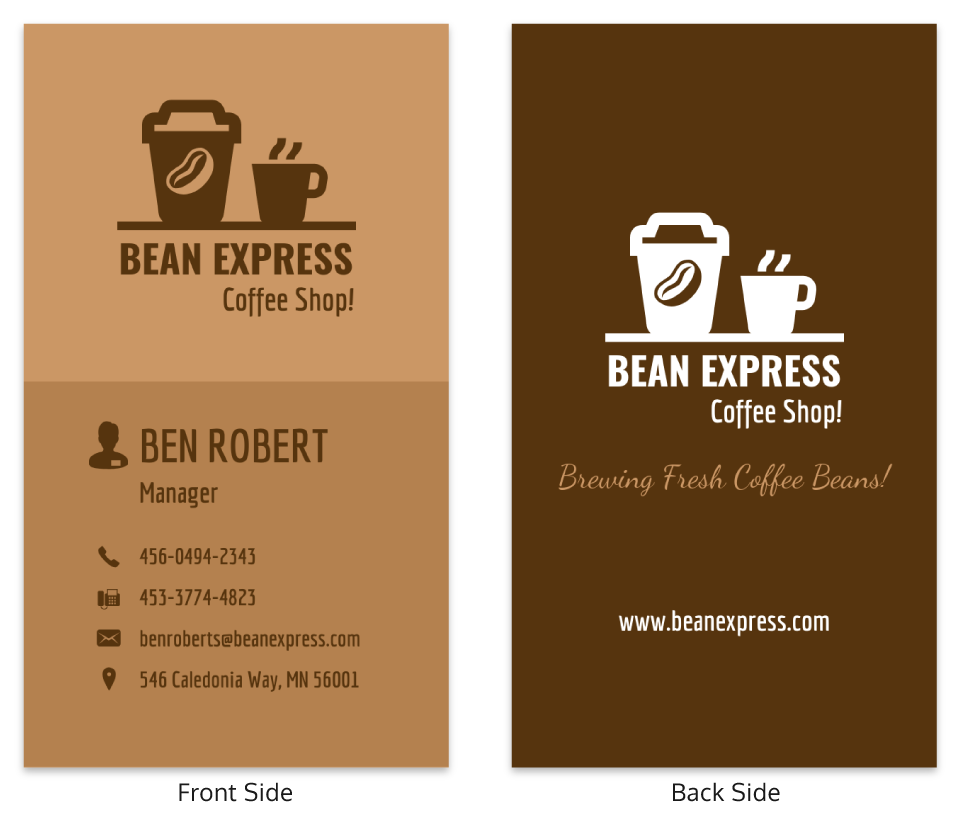 Cafe Professional Vertical Business Card Template