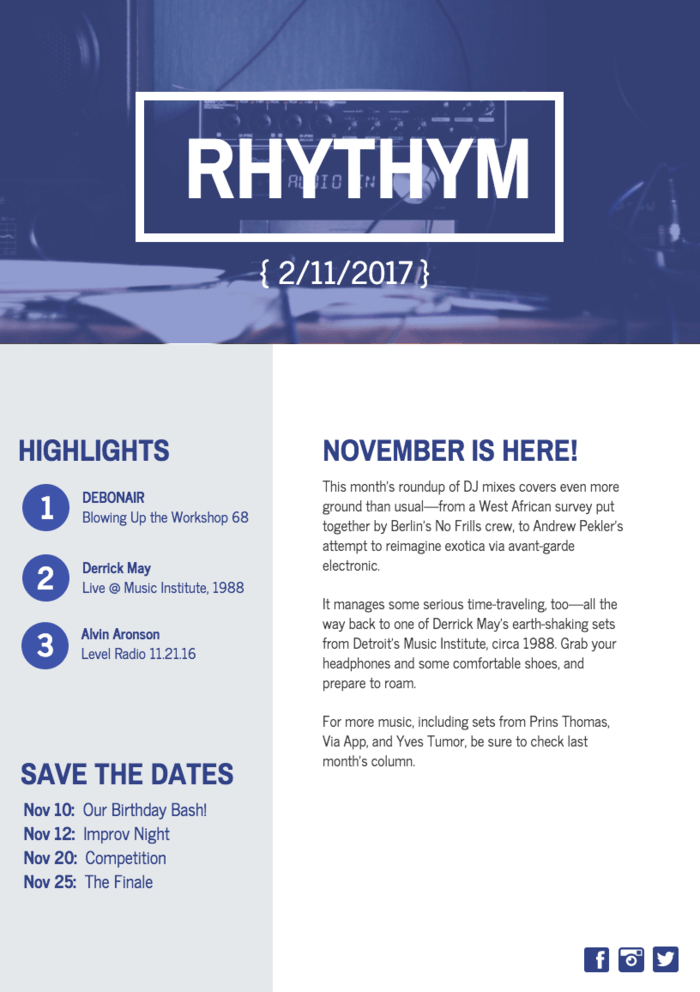 Music Newsletter Template