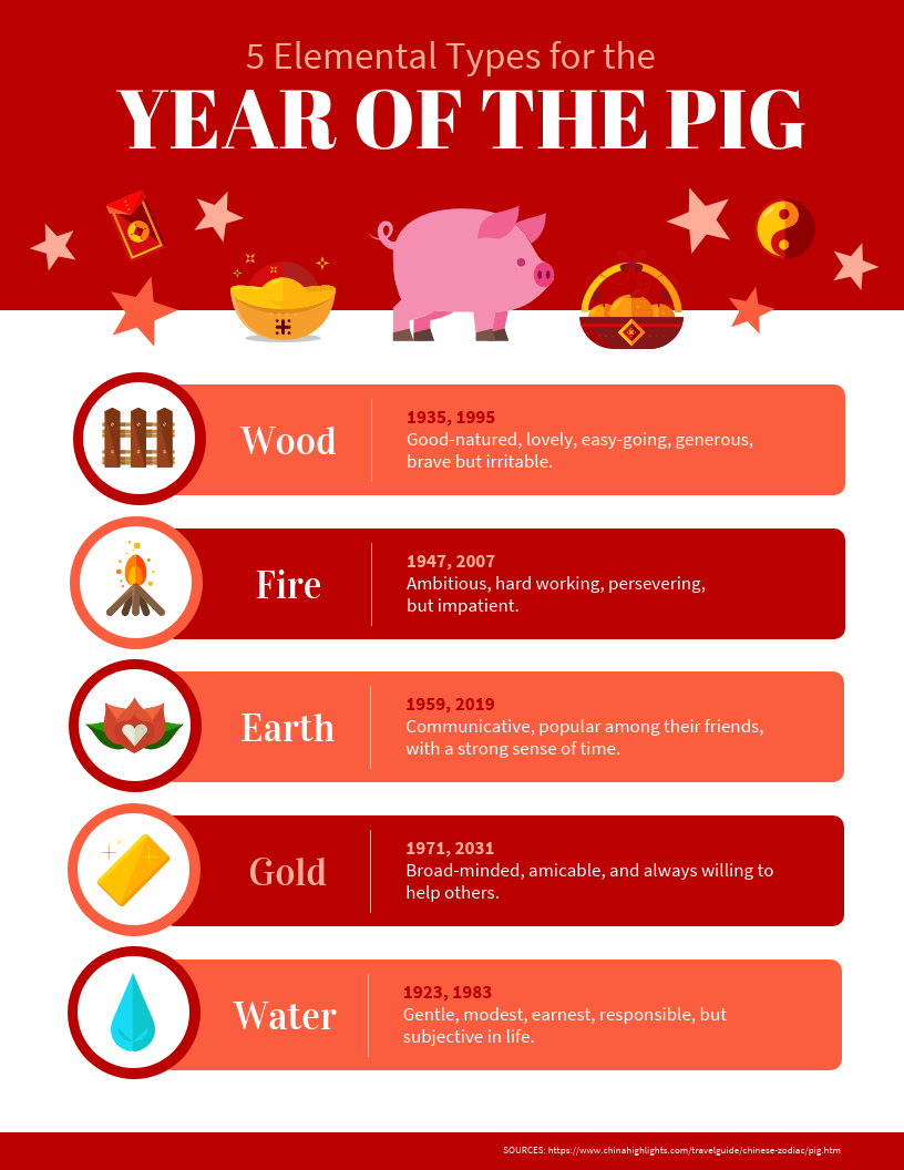 Elemental Year of the Pig Infographic Template Template