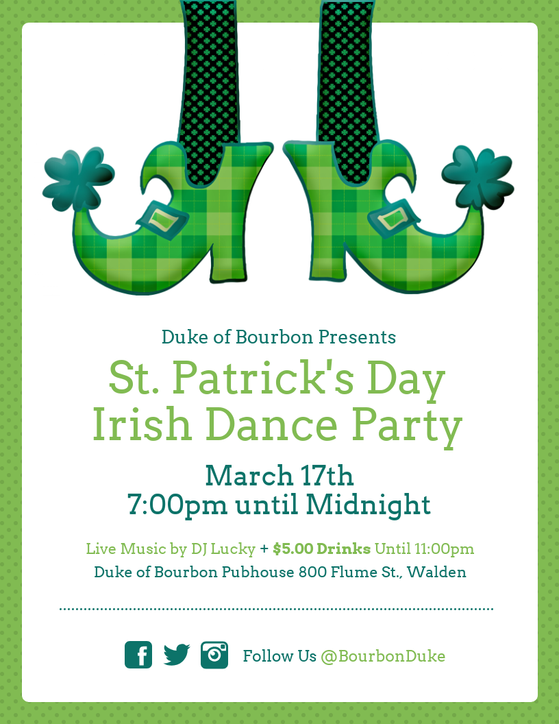St. Patrick's Day Dance Party Event Flyer Template