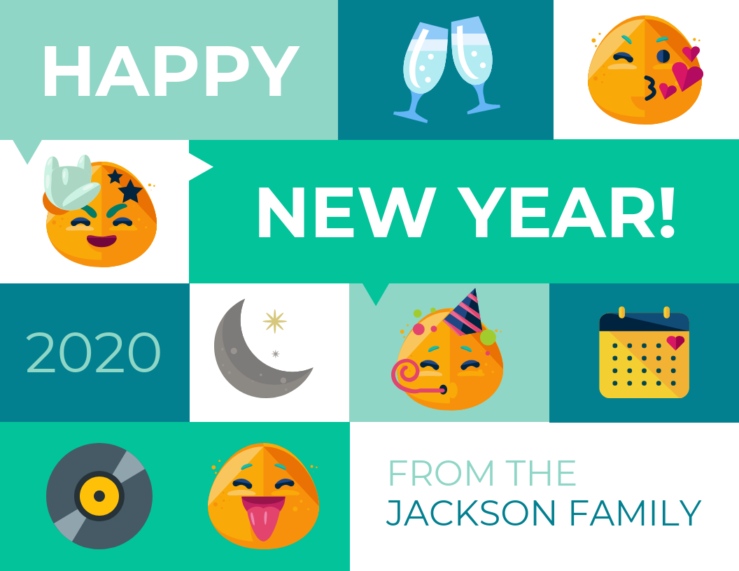 Emoji New Year Card Template Template - Venngage