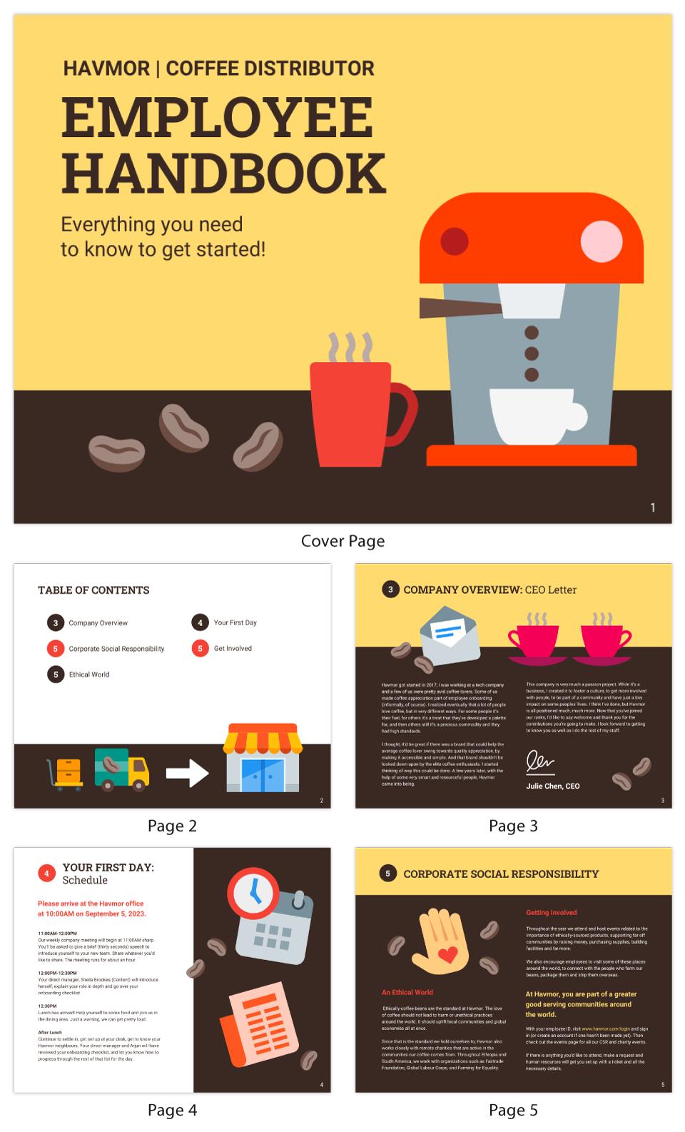 Company Distributor Employee Handbook Template