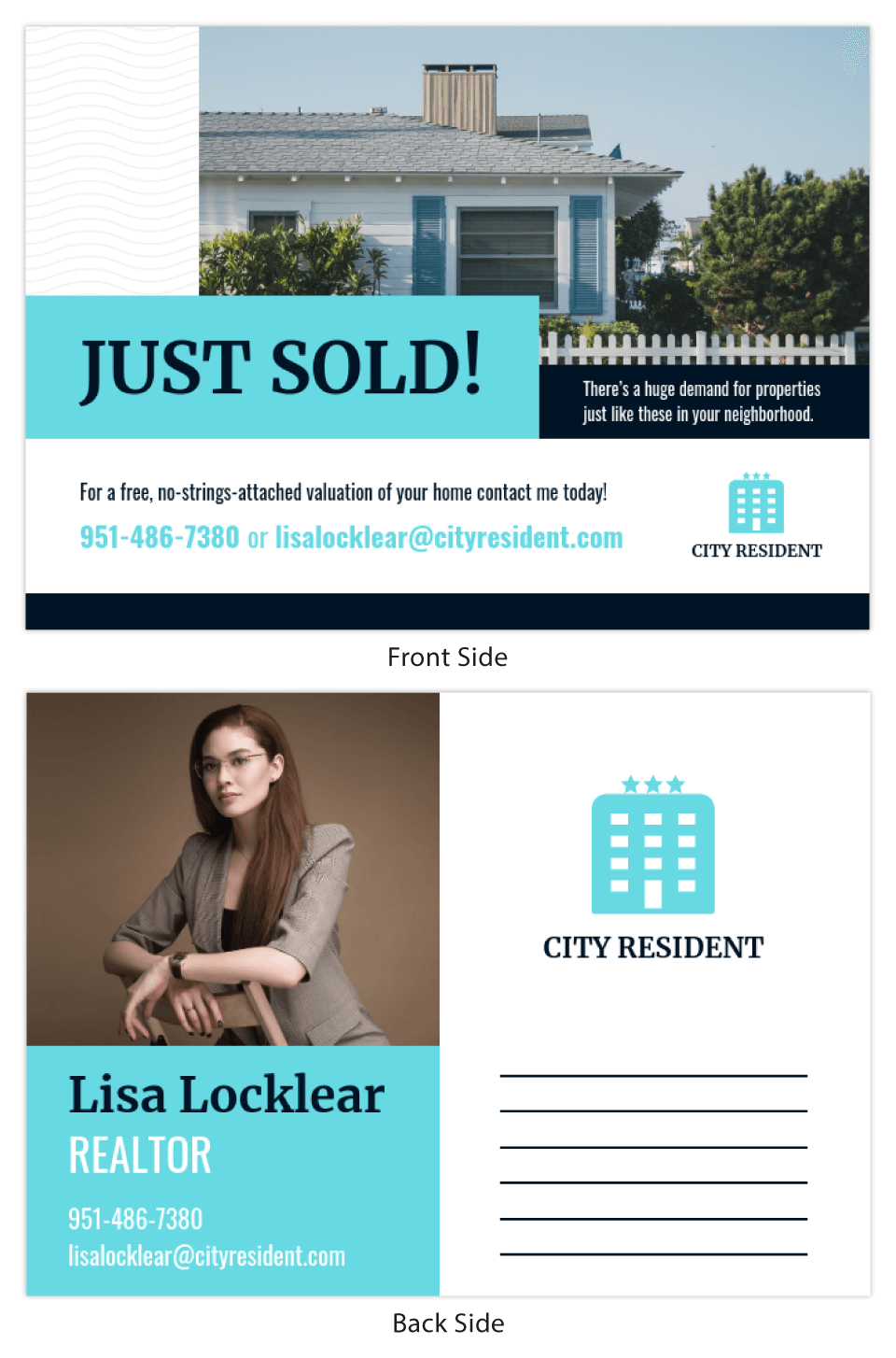 Teal Real Estate Just Sold Postcard Template