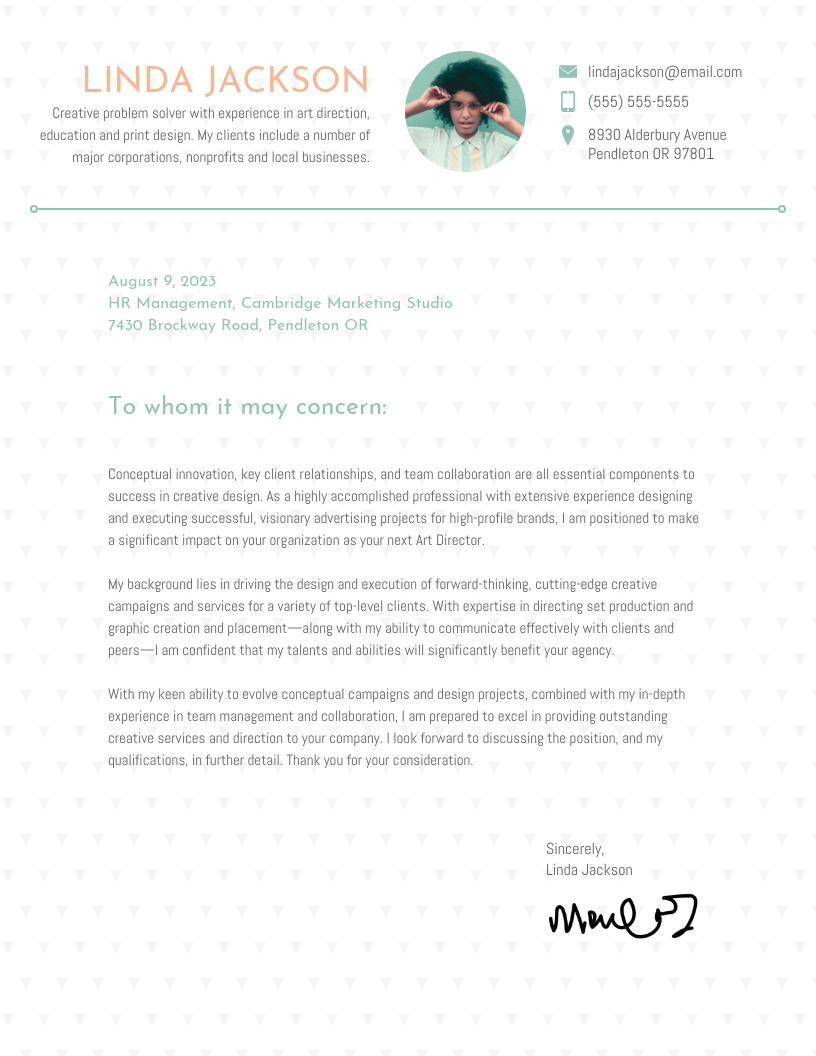 Creative Vintage Cover Letter Template