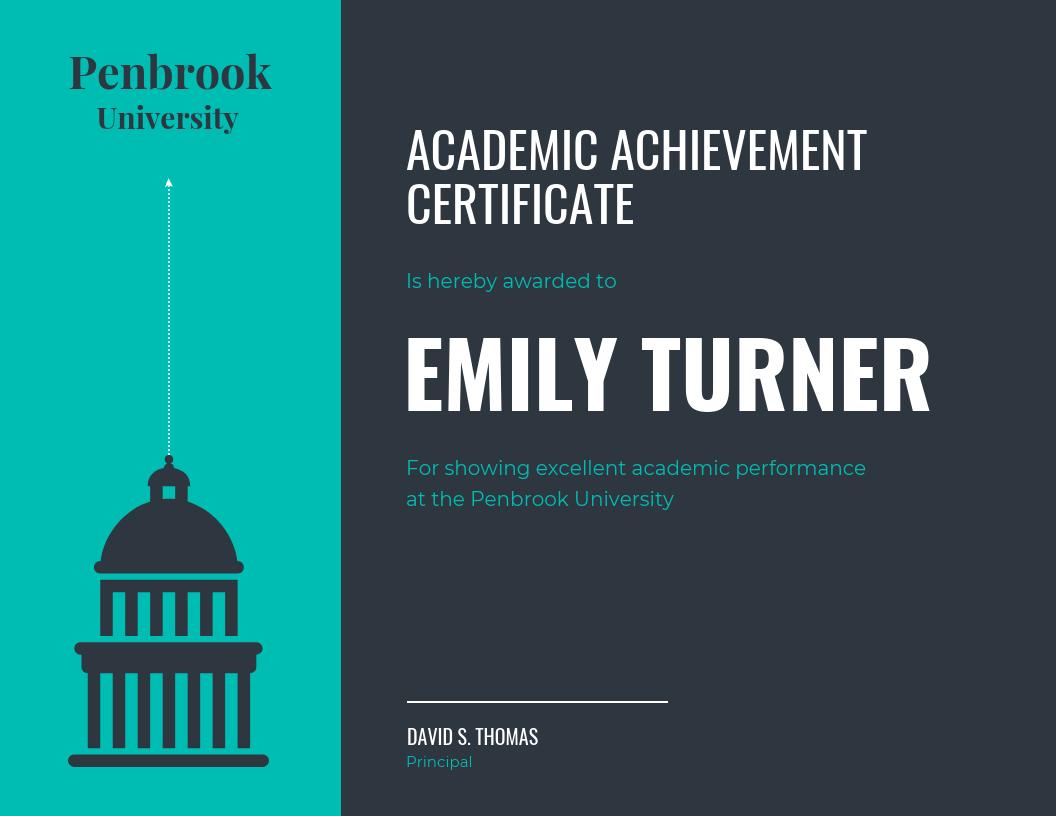 dark academic achievement certificate template template venngage