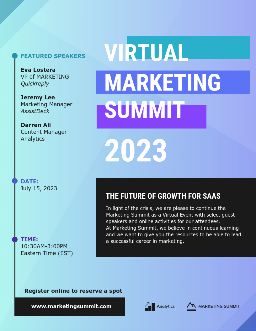 Virtual Marketing Summit Event Poster Template