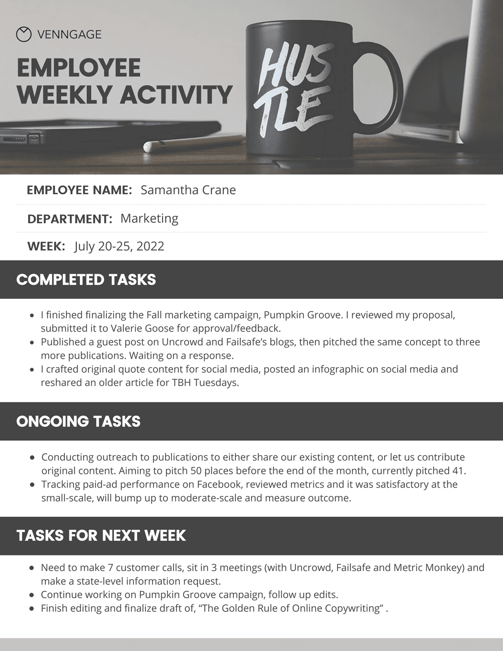Simple Employee Weekly Report Template