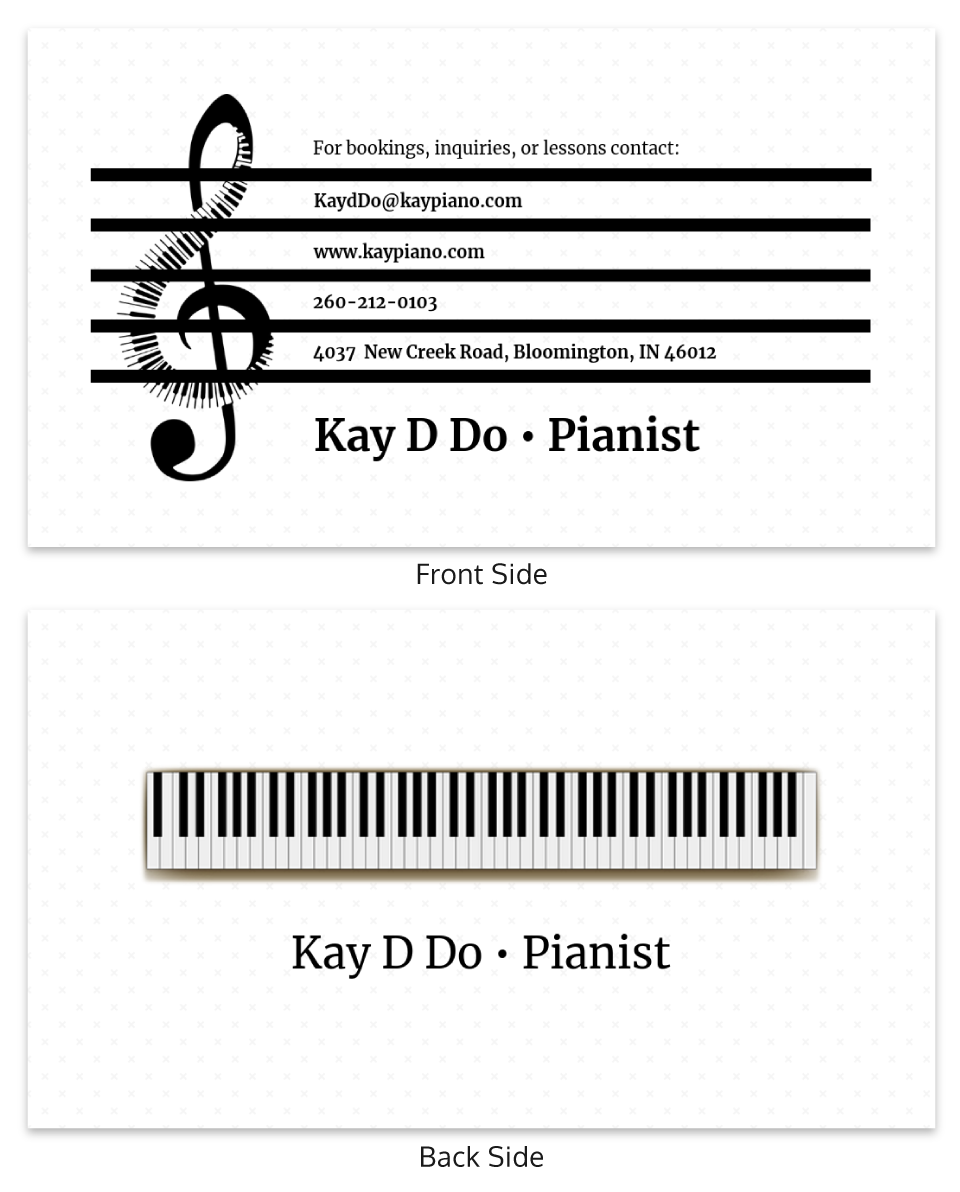 White Pianist Music Business Card Template