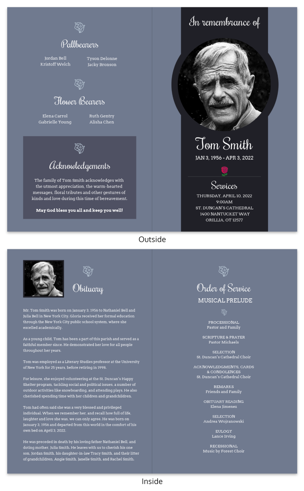 Gray Funeral Program Template