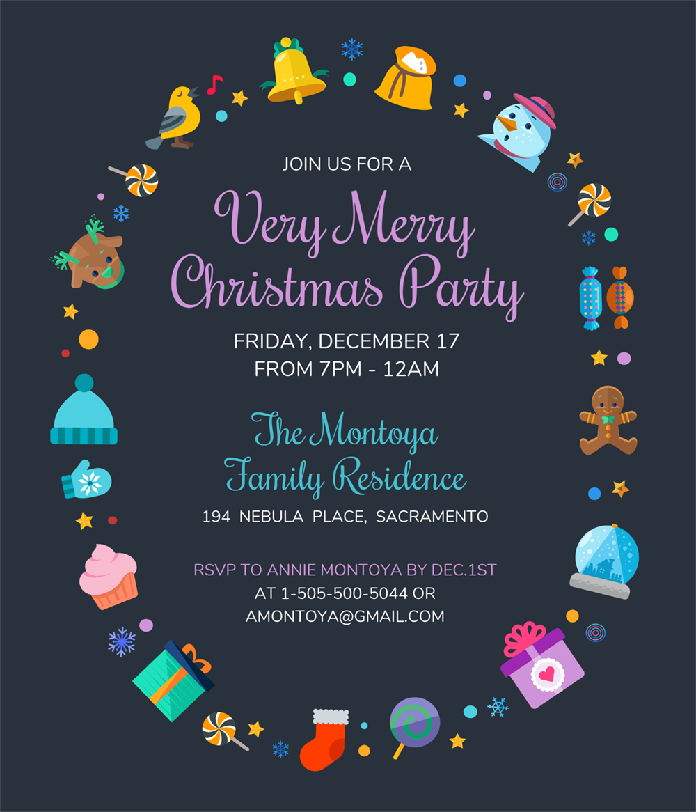 Cute Christmas Party Invitation Template