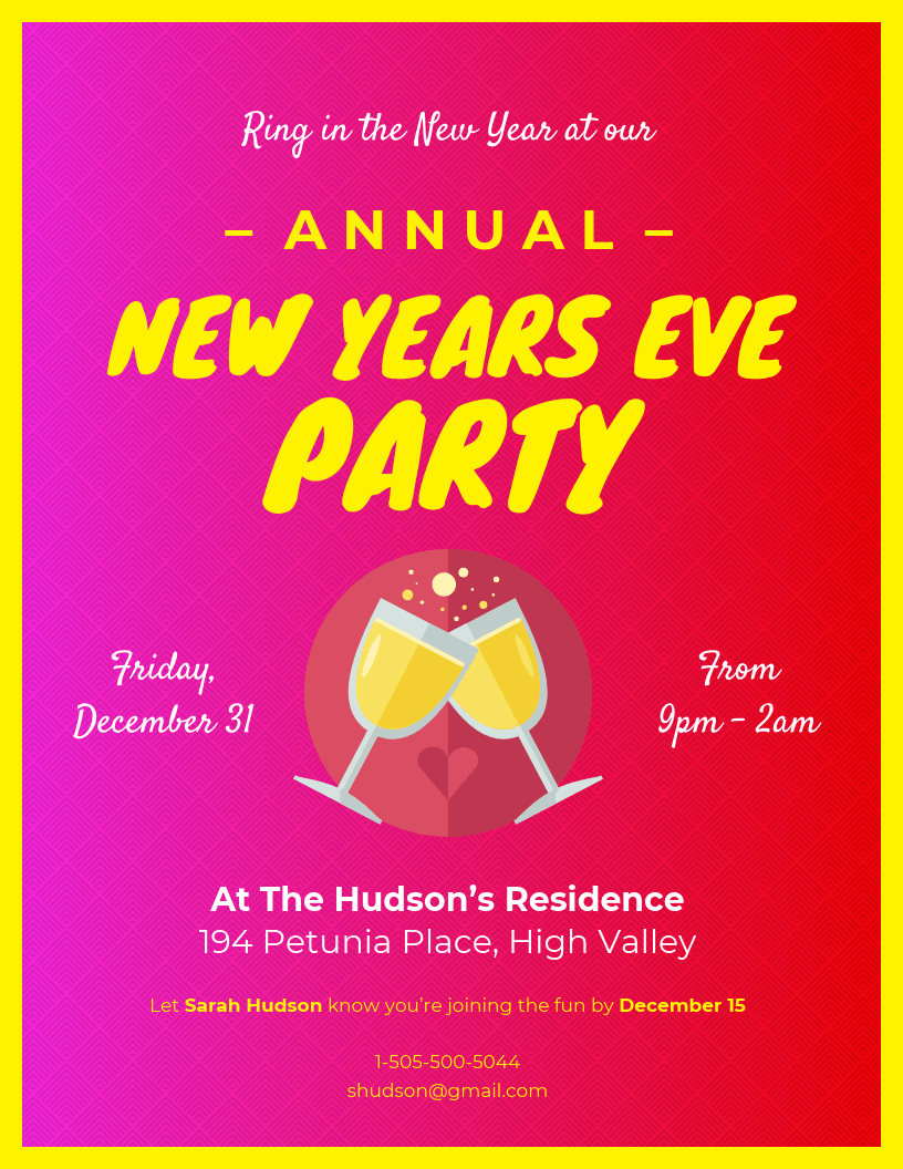 Loud New Years Eve Invitation Template