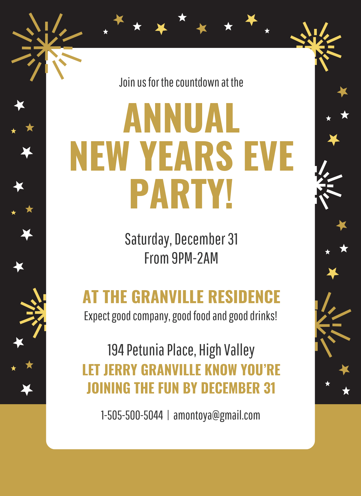 Gold New Years Eve Party Invitation Template